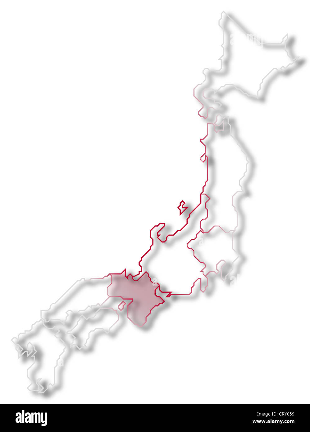 Political Map Of Japan With The Several Regions Where Kinki Is Stock