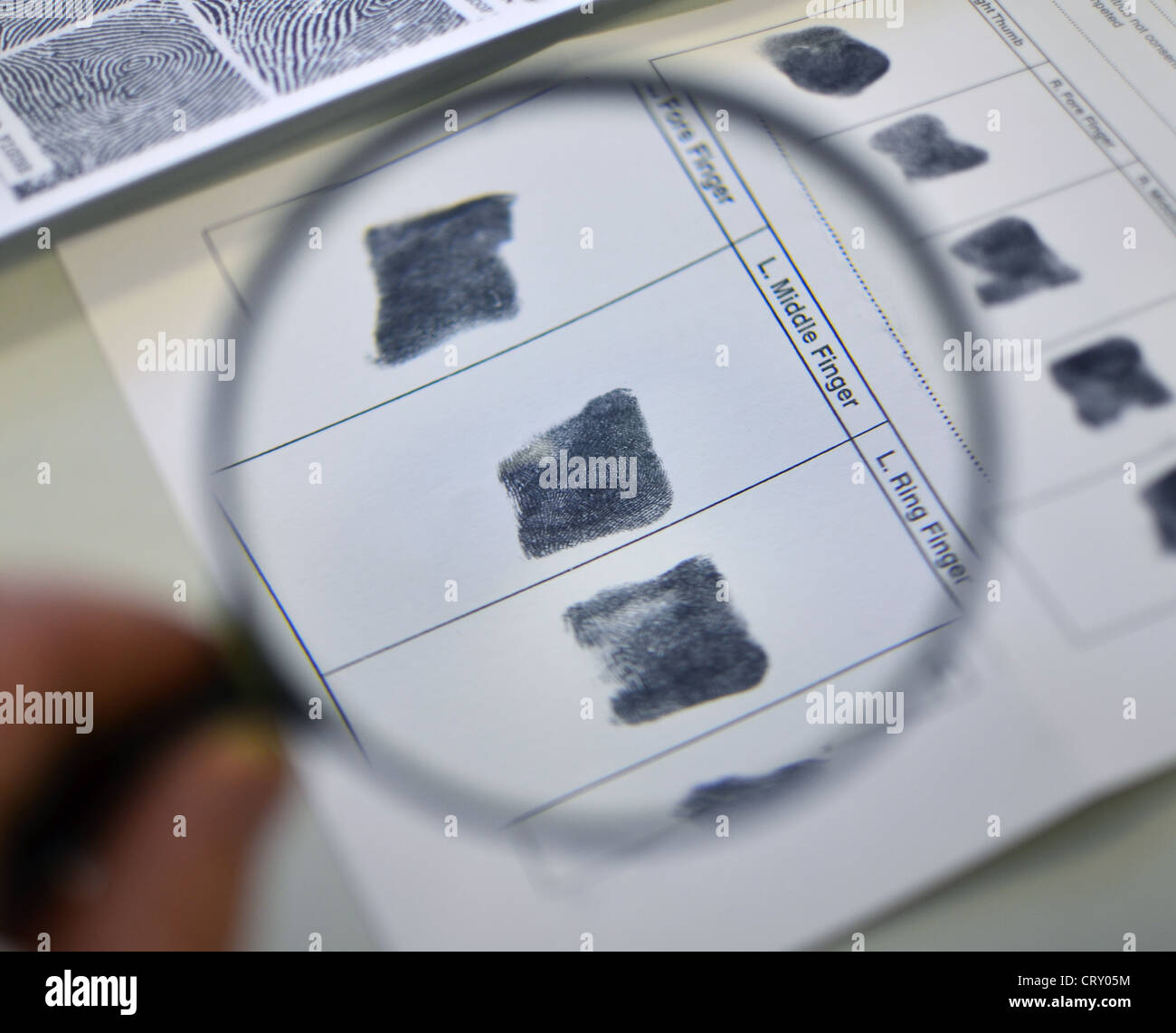 Looking at elimination finger prints through a magnifying glass - Stock Image