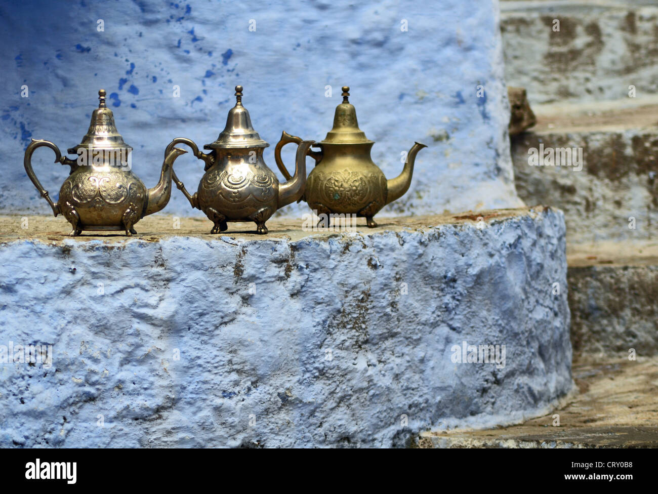 Moroccan teapots in Chefchaouen, Morocco - Stock Image