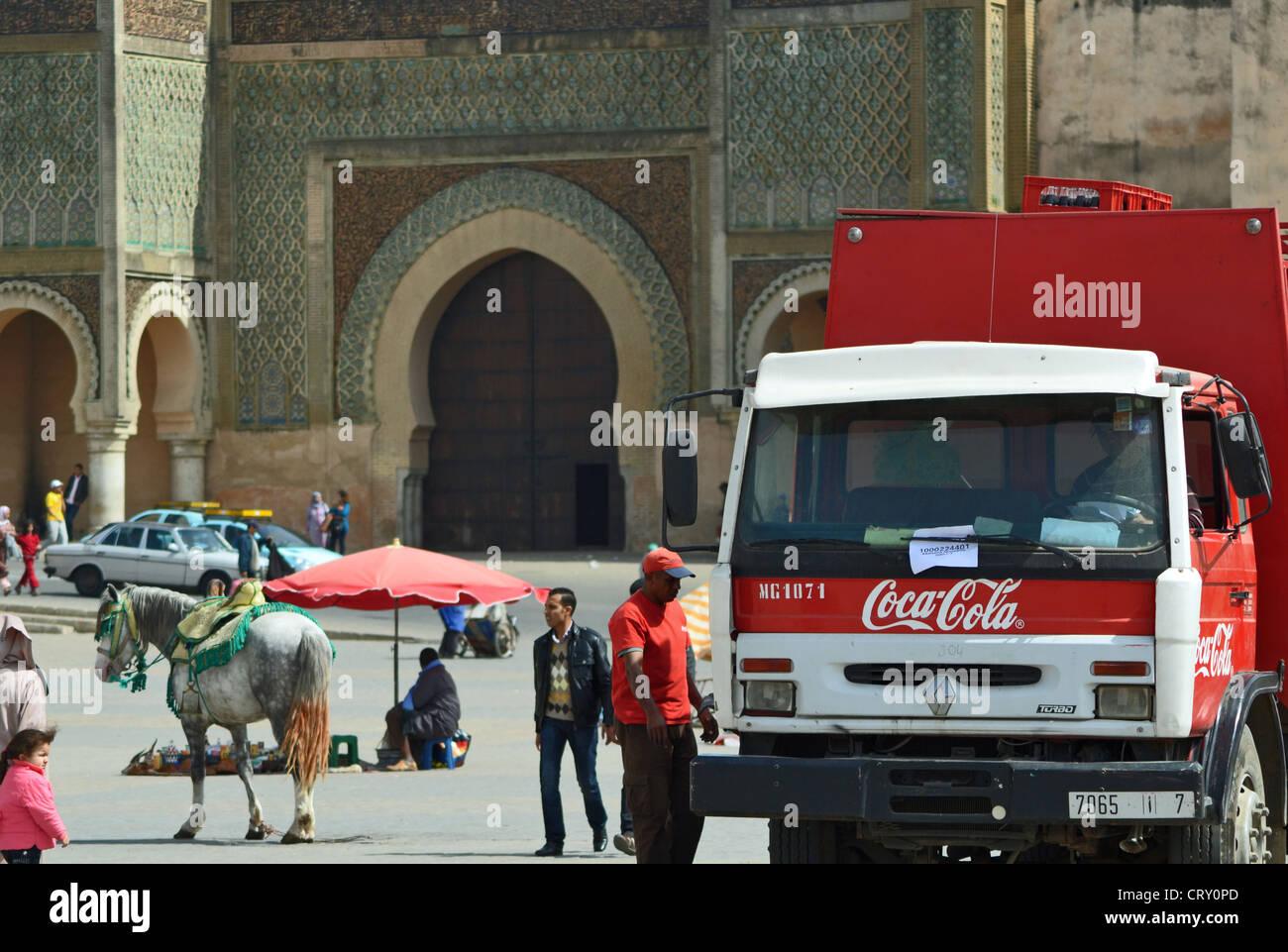 Coca cola truck delivering drinks in Meknes, Morocco - Stock Image