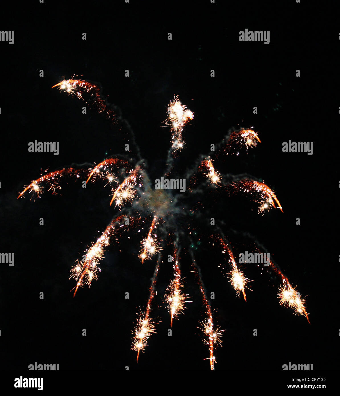 Fireworks with sparkles on a black sky - Stock Image