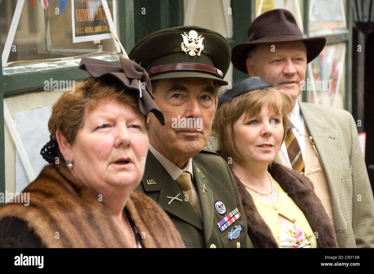 0b105b0eed9 Solders and civilians at the Haworth 1940s weekend - Stock Image