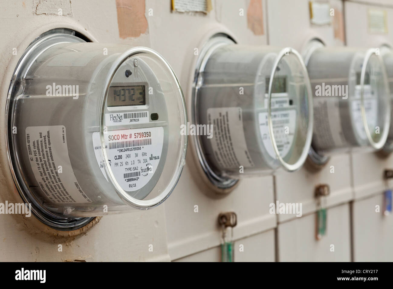 Digital Electric Meters for Apartment Complex - Stock Image