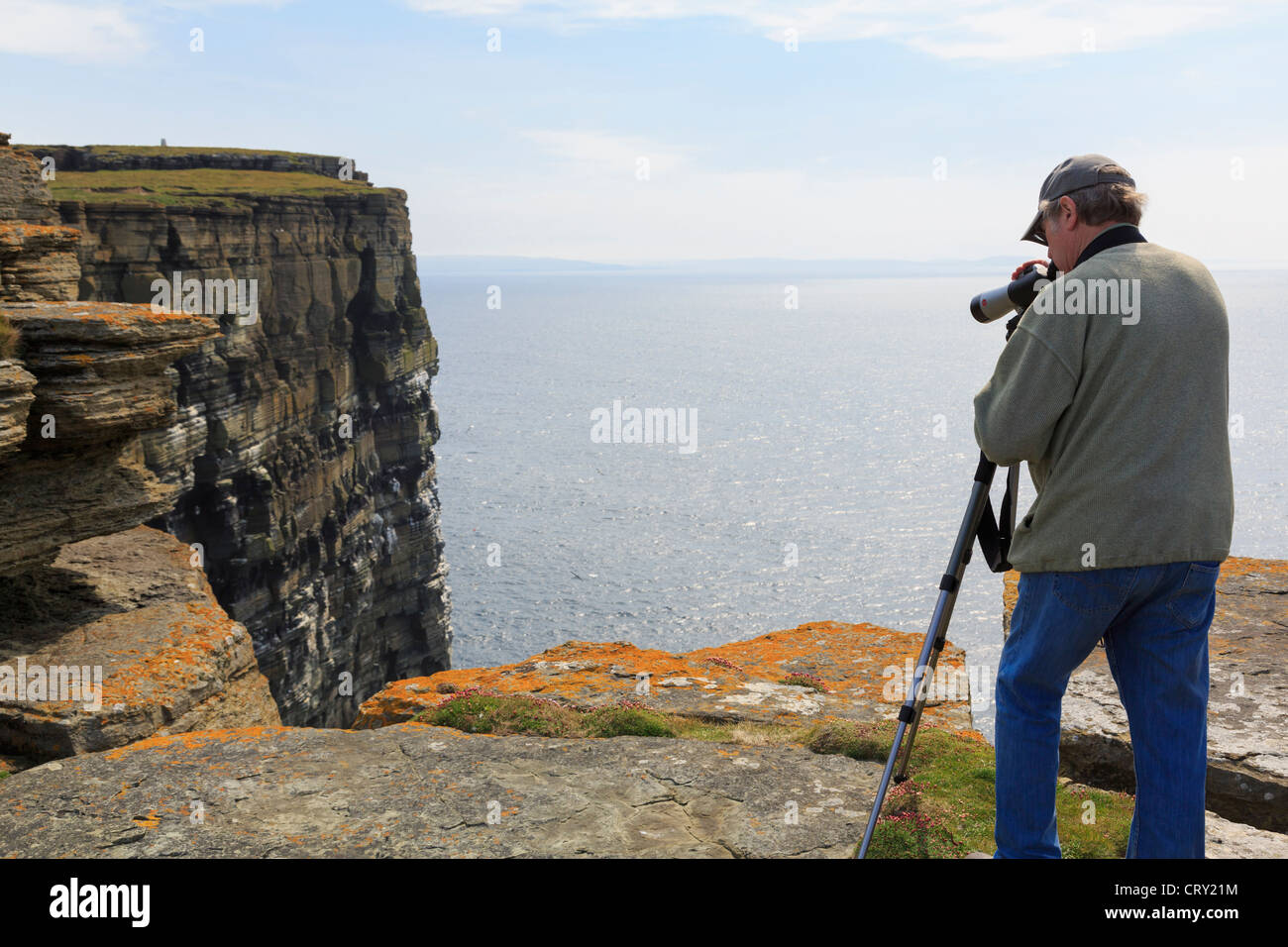 Birdwatcher using a telescope to watch Puffins and seabirds nesting on seacliffs  Noup Head Westray Island Orkney - Stock Image