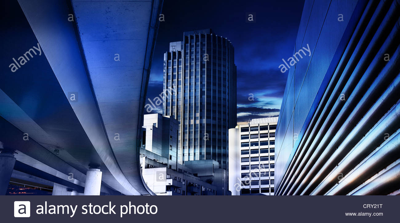 blue inner city - Stock Image