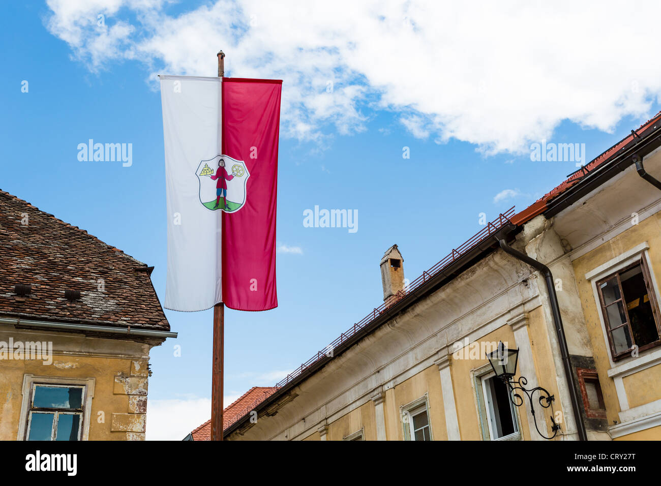 Looking up on the flag of the Municipality of Radovljica, Slovenia - Stock Image