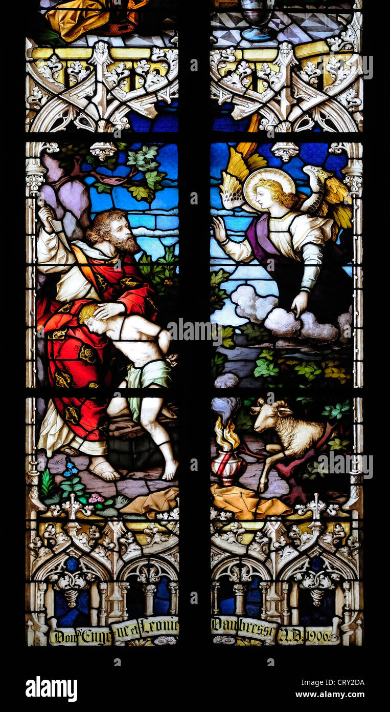 Namur, Belgium. Eglise St Jean-Baptist / Church of St John the Baptist (16thC) Stained glass window - Abraham and - Stock Image