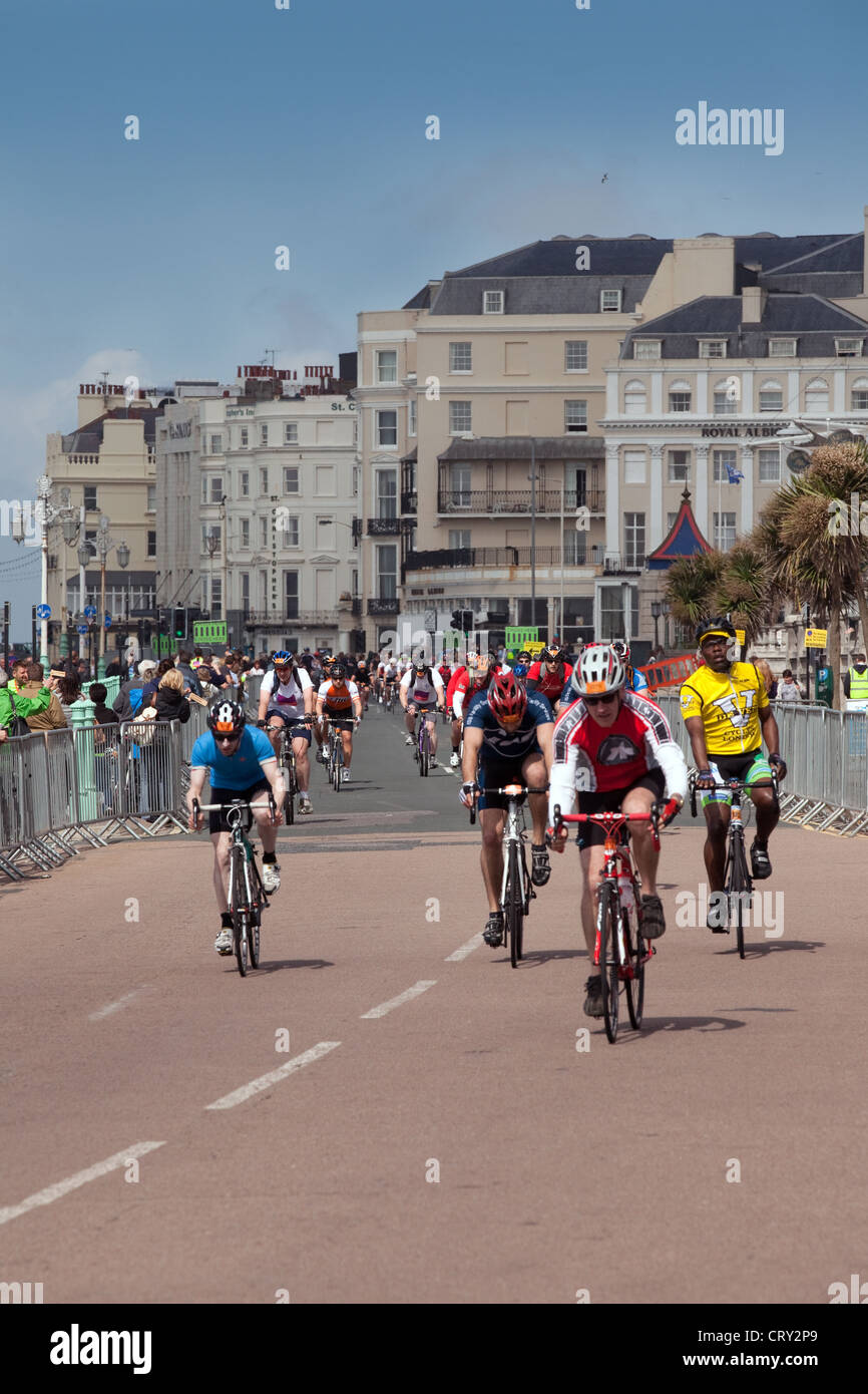 The finish of the London to Brighton Charity Cycle ride for the BHF at Brighton, Sussex UK - Stock Image