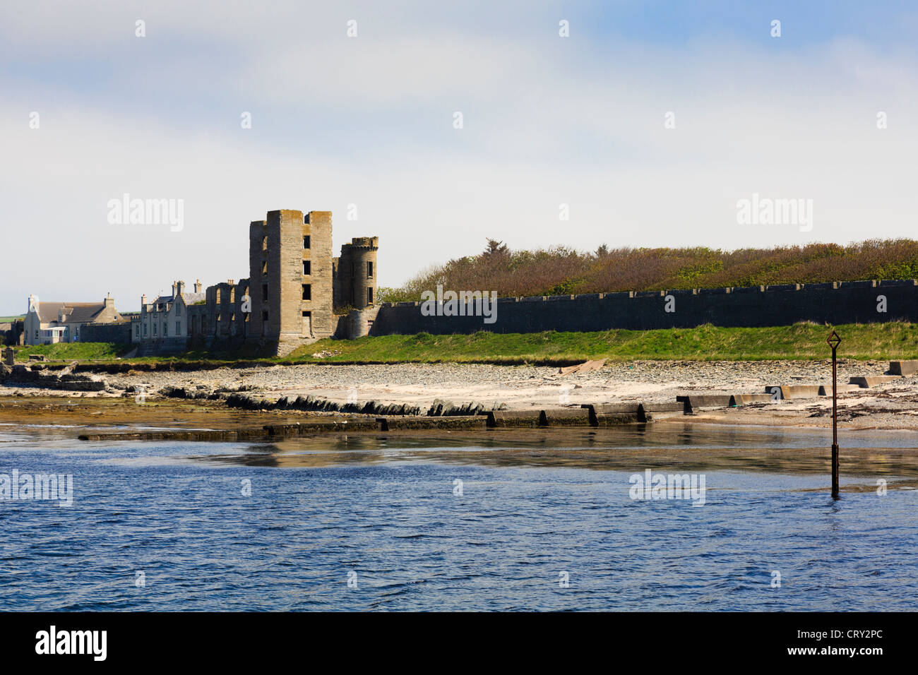 View across River Thurso estuary to Castle ruins in Britain's northernmost town of Thurso Caithness Scotland - Stock Image