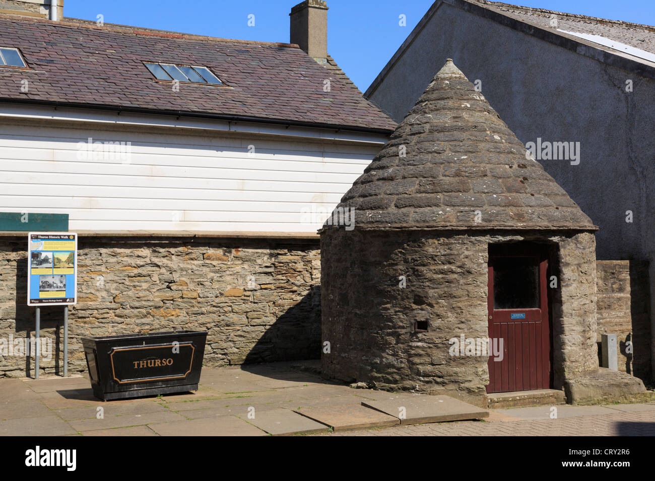 Meadow Well house with conical stone roof built 1818 is on historic town trail in Thurso, Caithness, Scotland, UK, - Stock Image