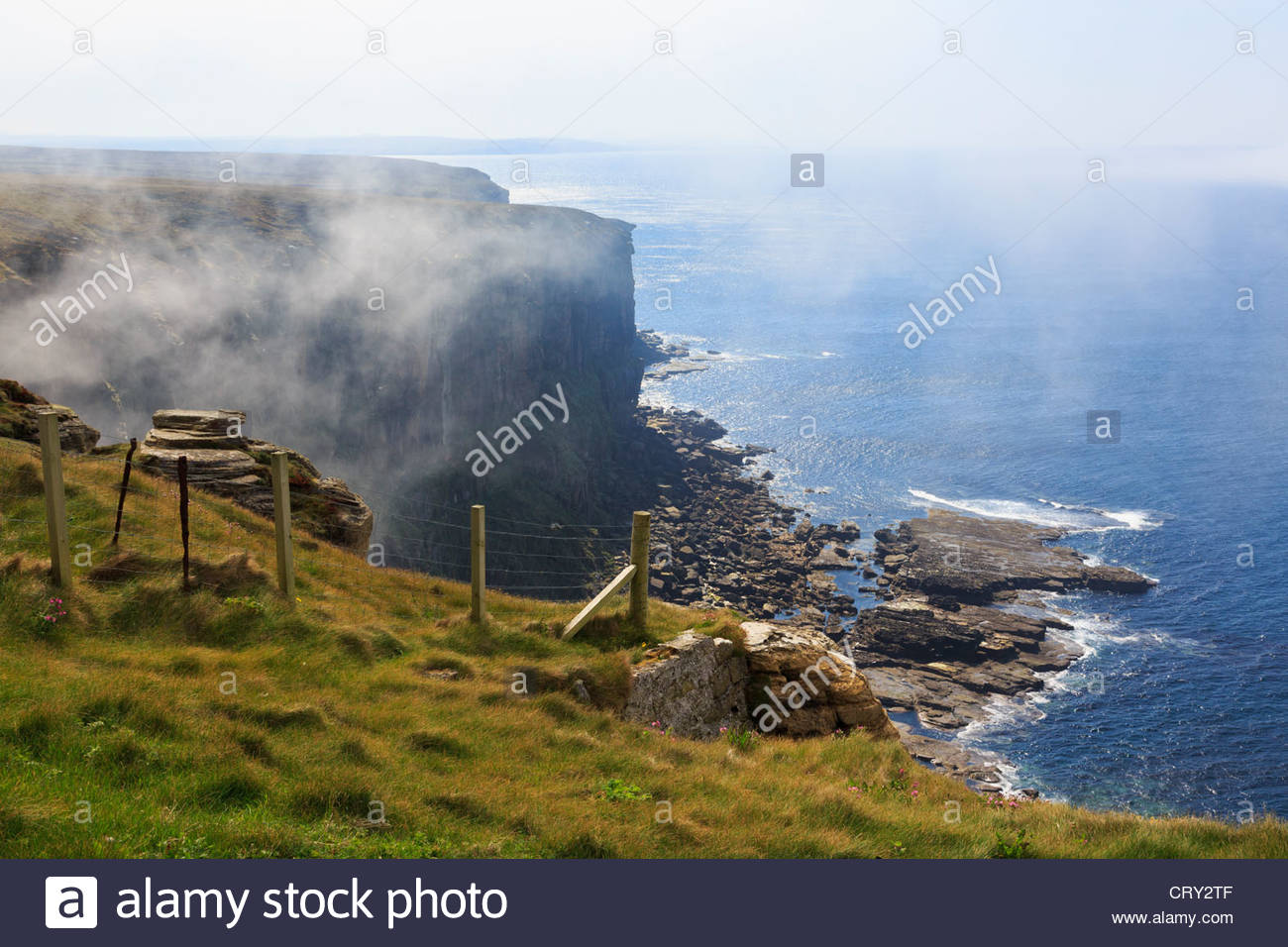 Dunnet Caithness Scotland UK. Dunnet Head seacliffs in sea mist at most northerly point on mainland Britain is an - Stock Image