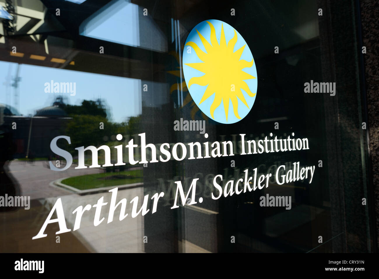 WASHINGTON DC, USA - Sackler Gallery Sign on Glass. The Arthur M. Sackler Gallery, located behind the Smithsonian - Stock Image