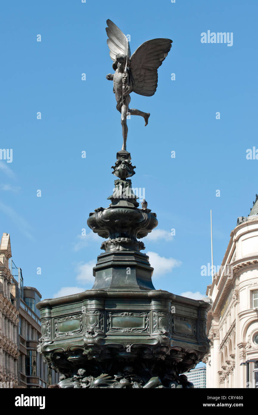 Statue of Eros in Piccadilly Circus, London - Stock Image
