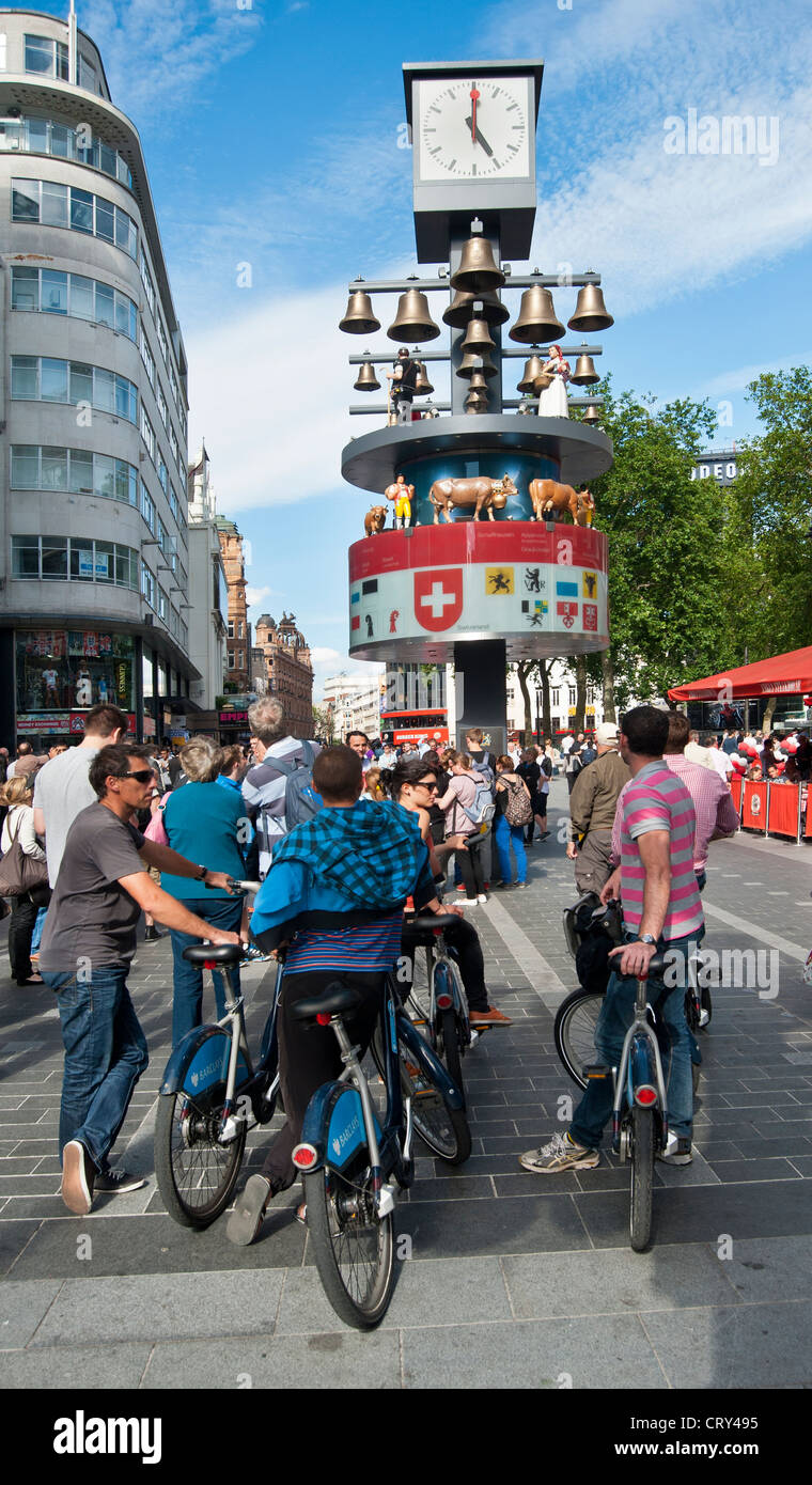 Swiss Glockenspiel Clock at Leicester Square, London - Stock Image
