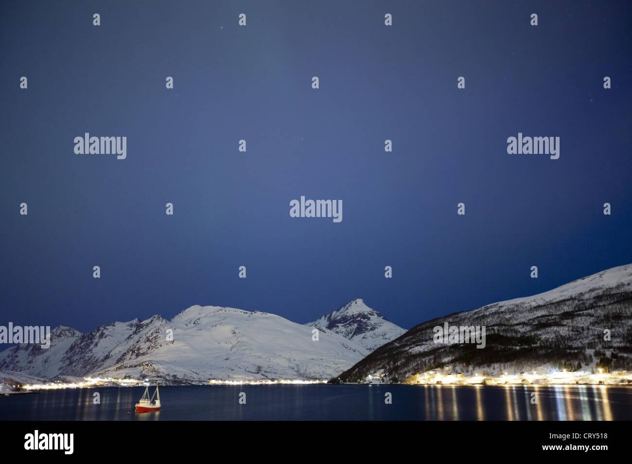 Hamlet on Kvaloya Island near Tromso in Arctic Circle Northern Norway Stock Photo