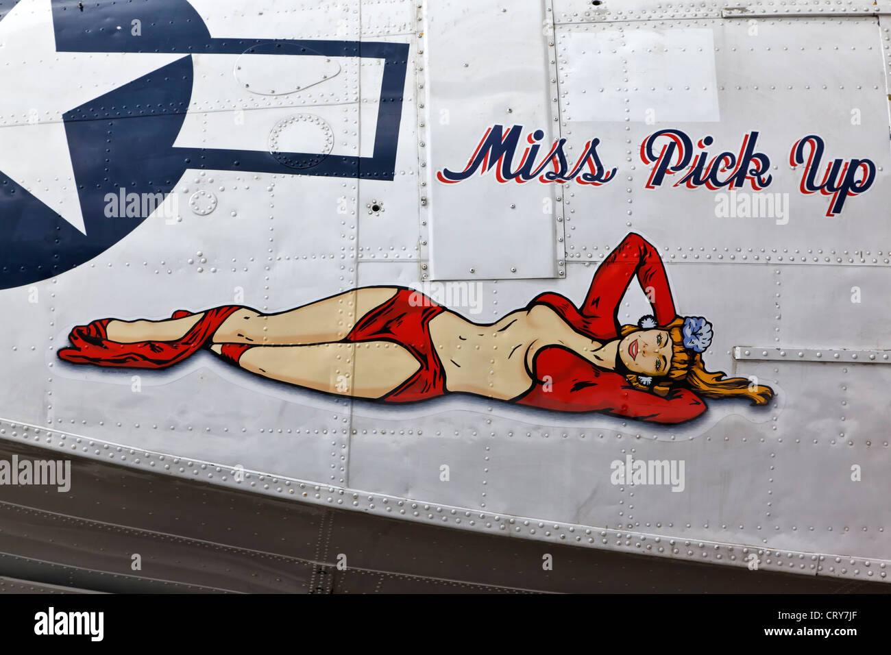 Miss Pick up Nose art on a PBY Catalina - Stock Image