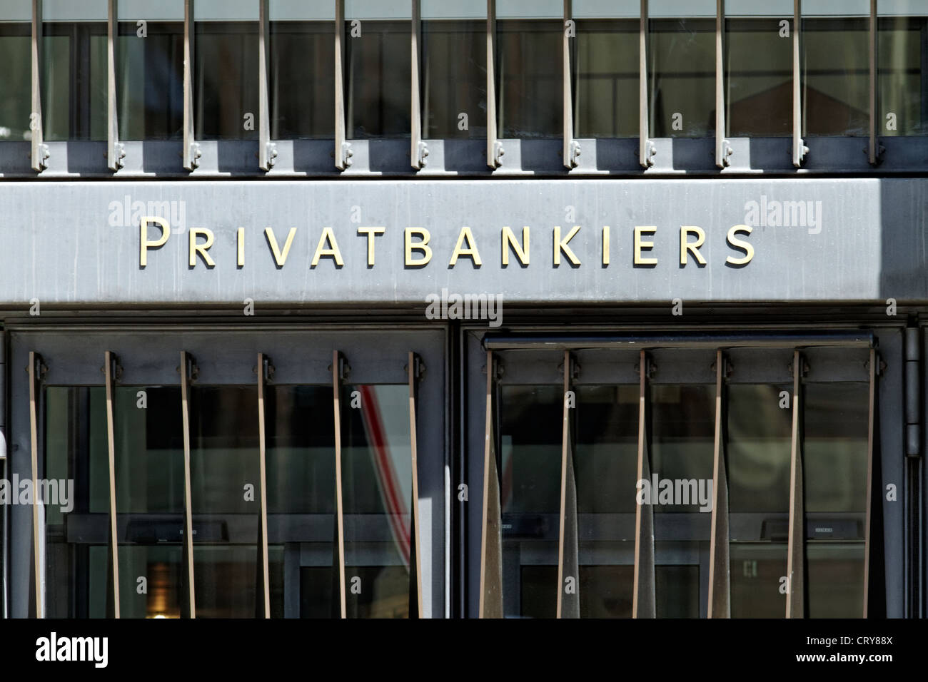 German private bankers sign ( Privatbankiers ) - Stock Image