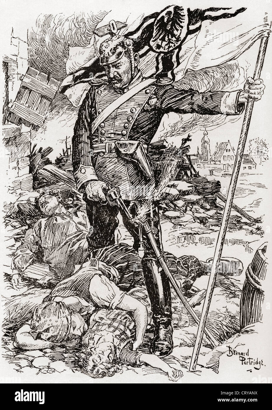 Propaganda illustration entitled The Triumph of Culture showing German soldier standing over bodies of murdered - Stock Image