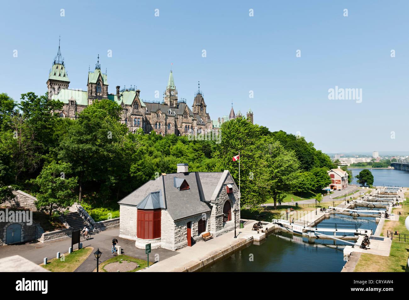 Parliament Hill, Ottawa River lock, Rideau canal - Stock Image