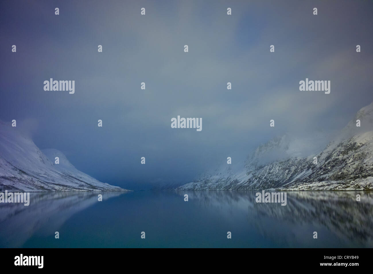 Arctic sky and landscape at Ersfjordbotn on Klavoya Island near Tromso, Northern Norway - Stock Image