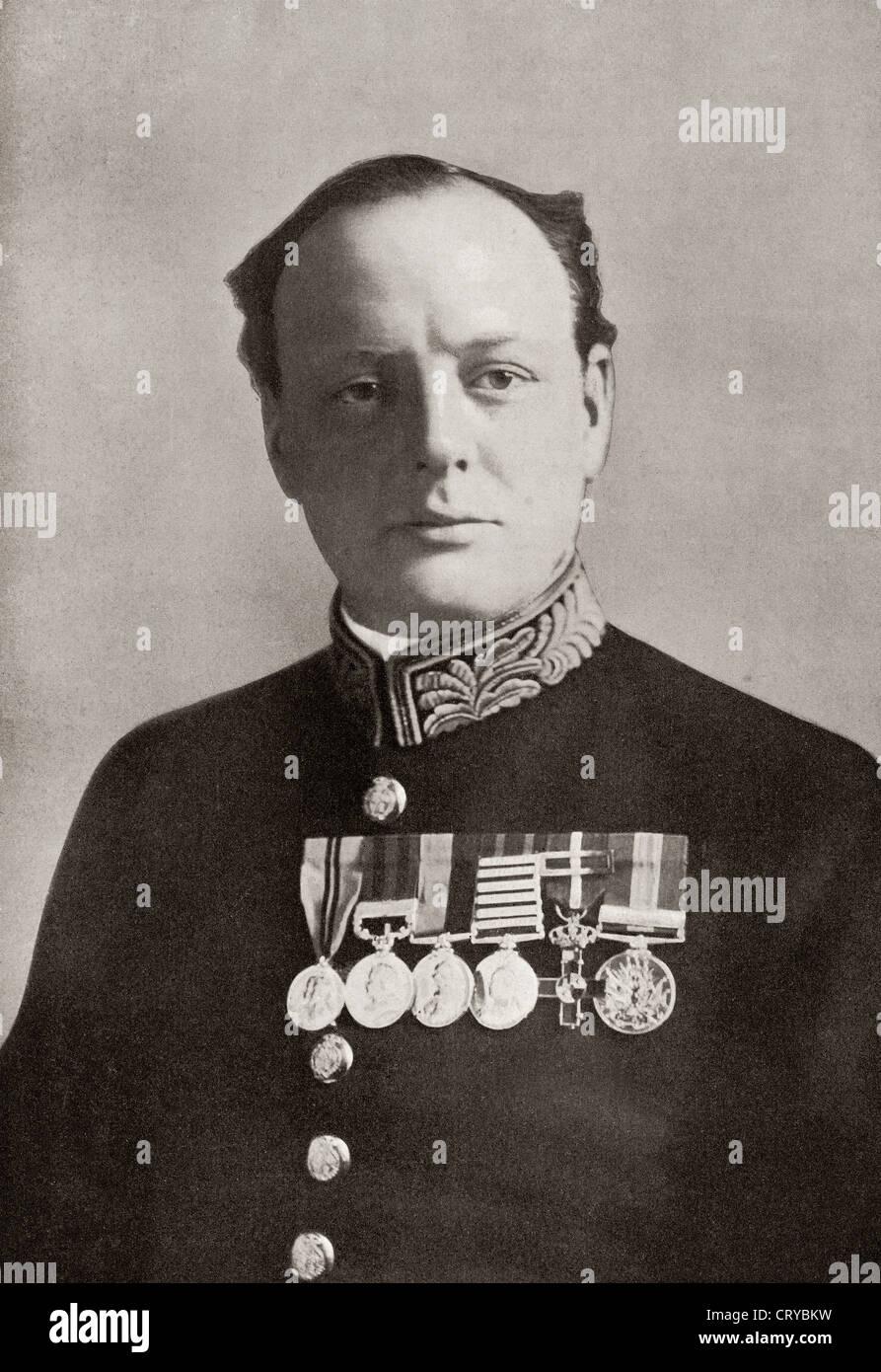 Sir Winston Churchill, 1874 – 1965. British politician and statesman. Here seen in uniform during World War One. - Stock Image