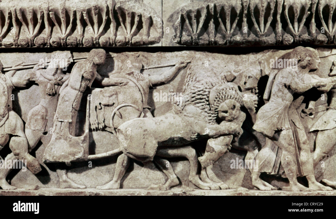 Treasury of Siphnos (525 B.C.). North frieze depicting the battle between gods and giants. Detail. Delphi Archaeological - Stock Image
