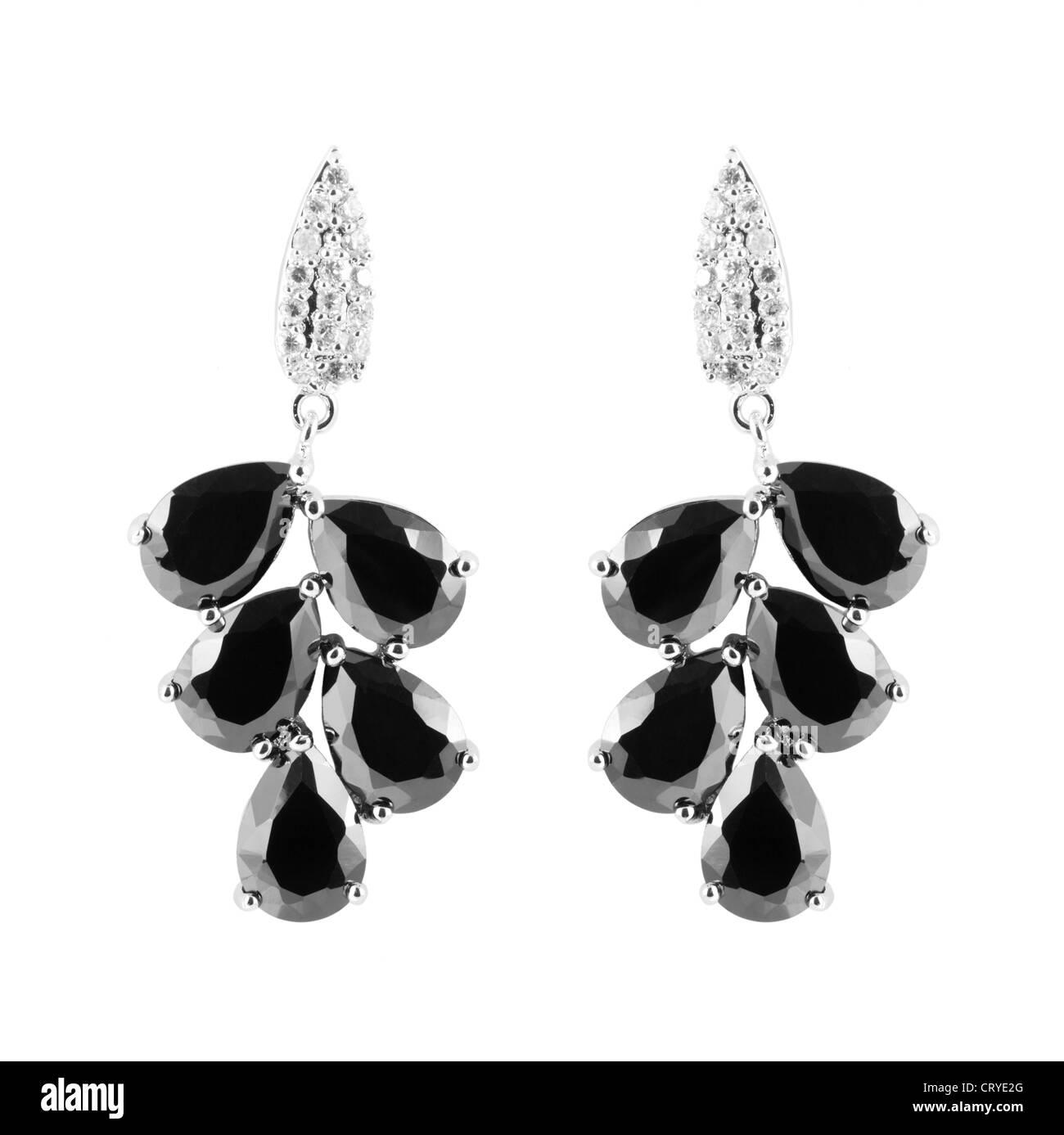 earrings with diamonds - Stock Image