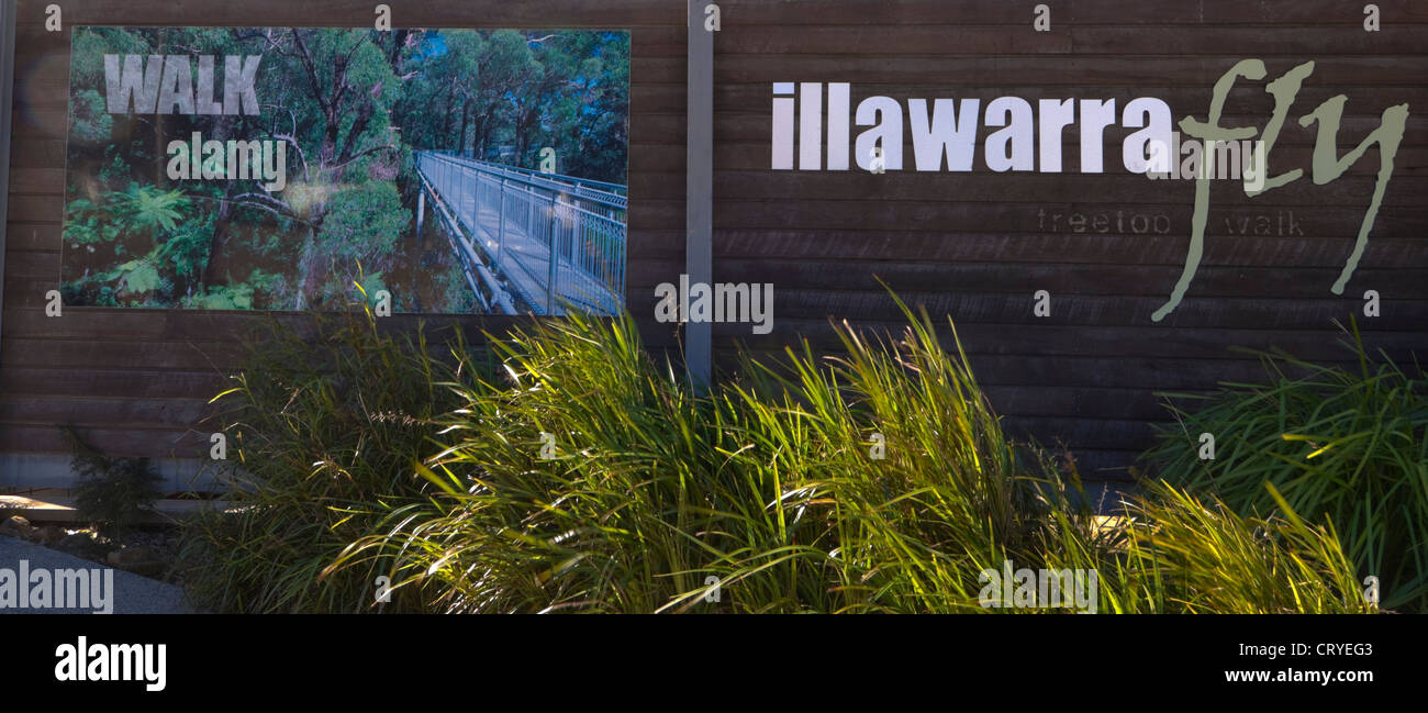 Illawarra Fly Tree Top Walk Sign, near Wollongong, New South Wales, Australia - Stock Image