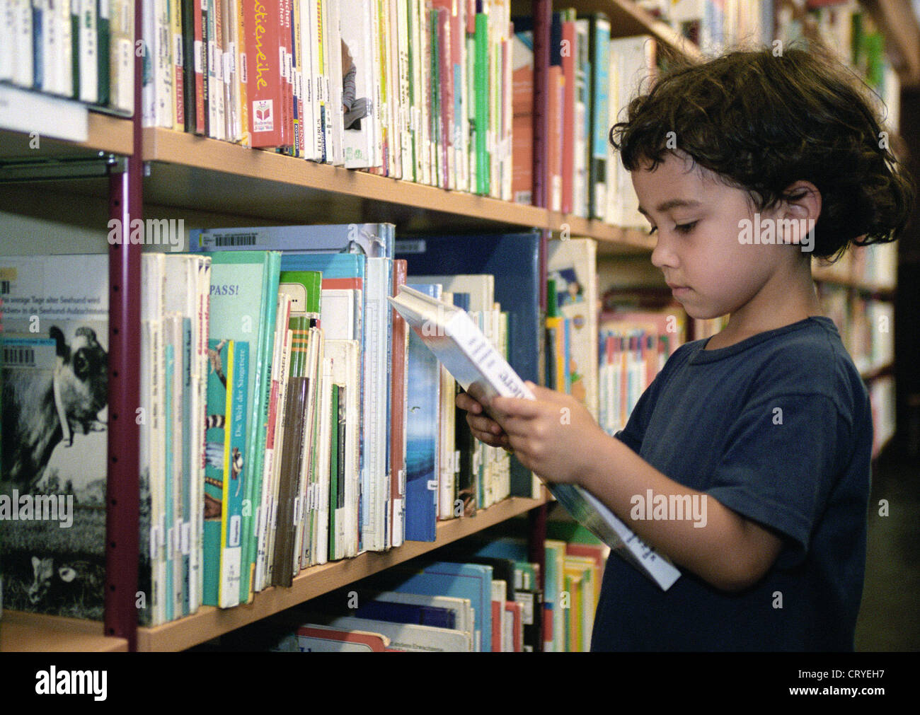 Young children in the library of the American Memorial Library (T) Stock Photo
