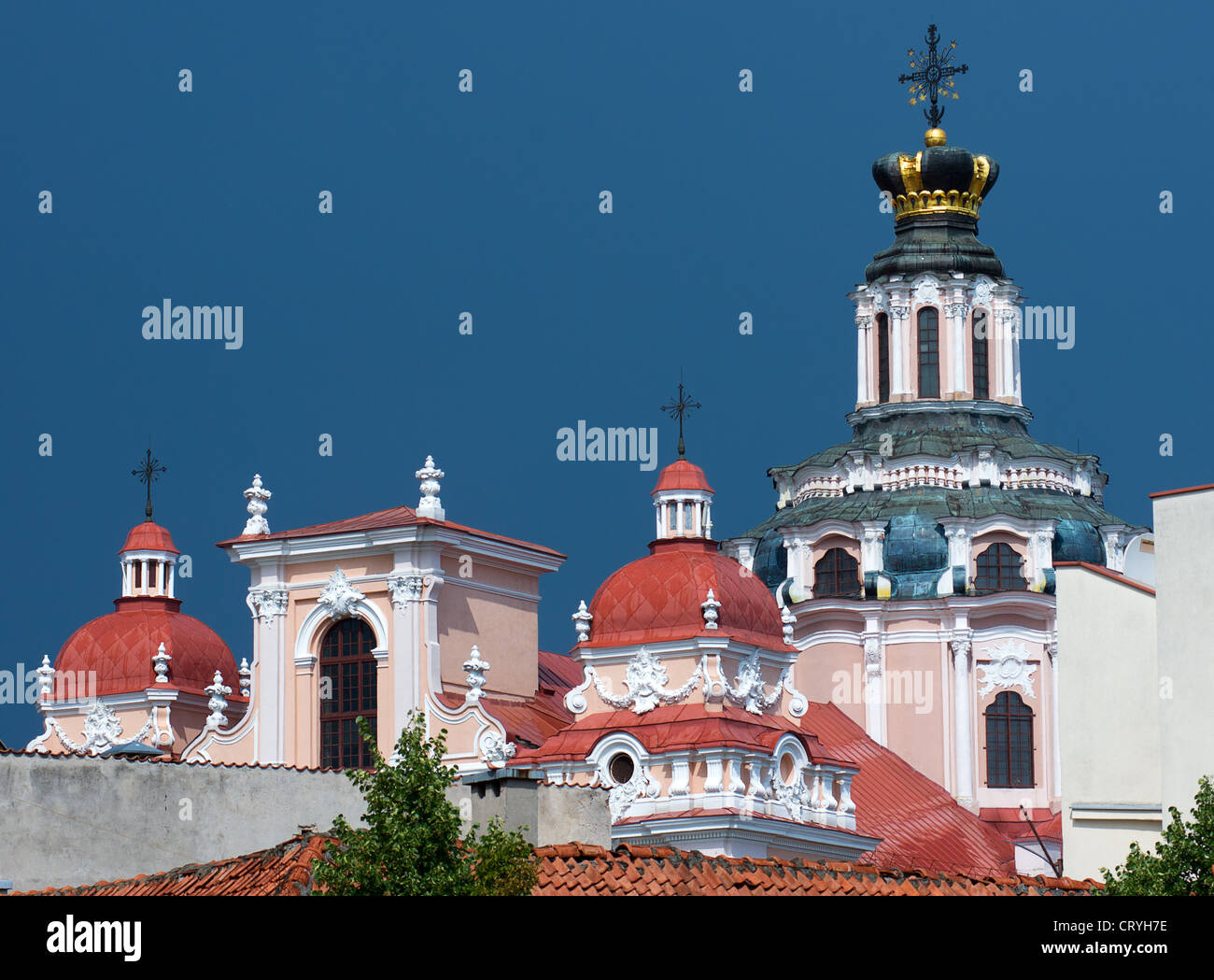 The Jesuit Church of Saint Casimir towers in Vilnius, Lithuania with blue sky background - Stock Image