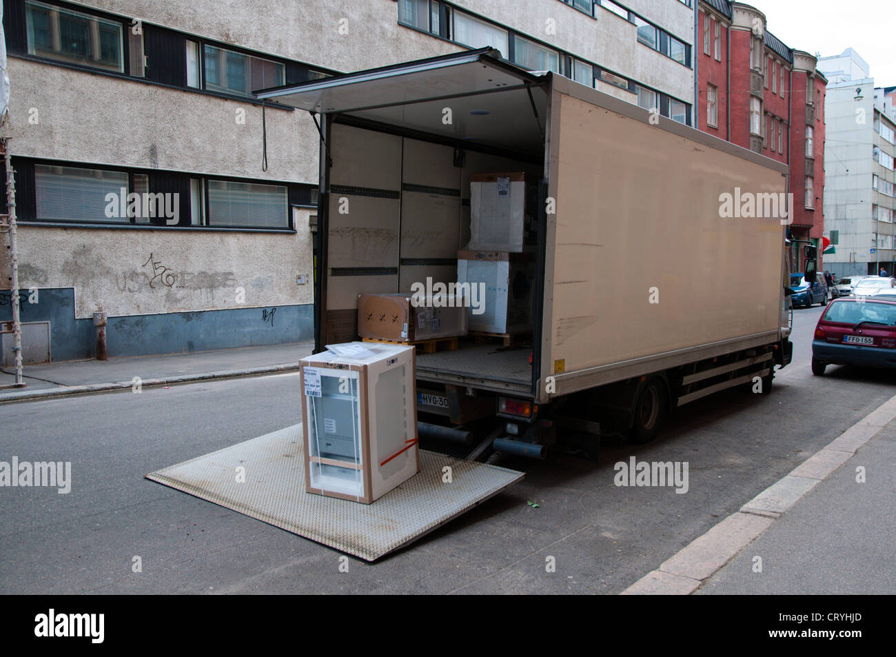 Van delivering household electrical appliances central Helsinki Finland Europe Stock Photo