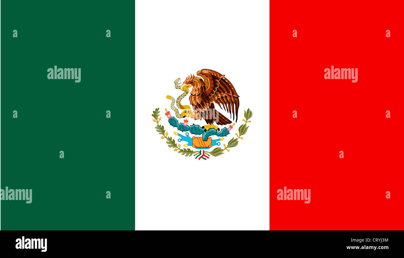 National flag of the United Mexican States. - Stock Image