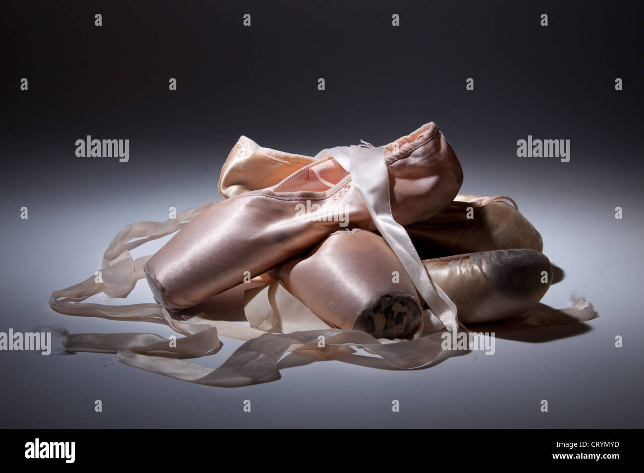 Studio shot of old pointe shoes (Grishko and Chacott) - Stock Image