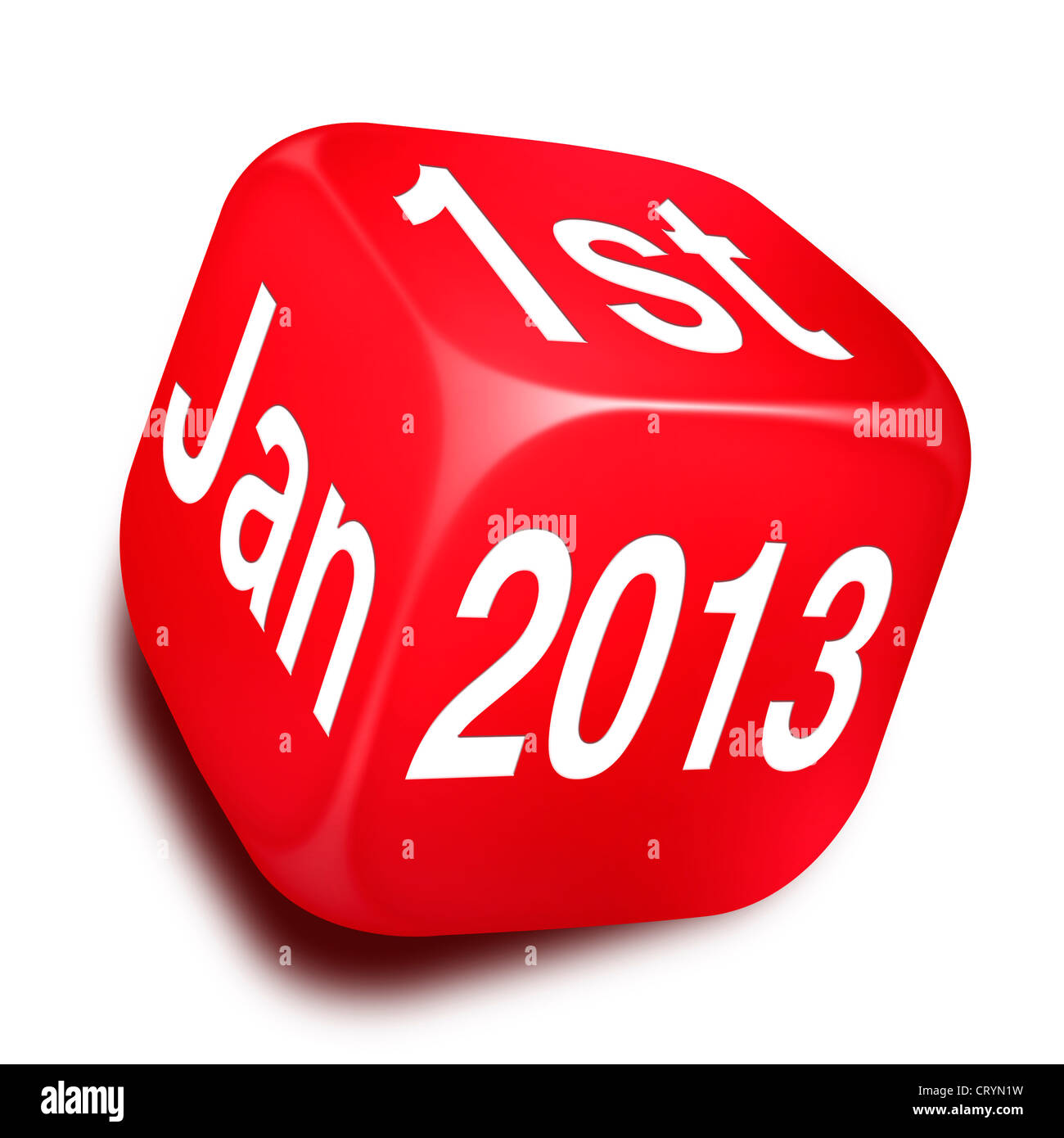 Red Dice with the date 1st Jan 2013 printed across three of it's faces - Stock Image