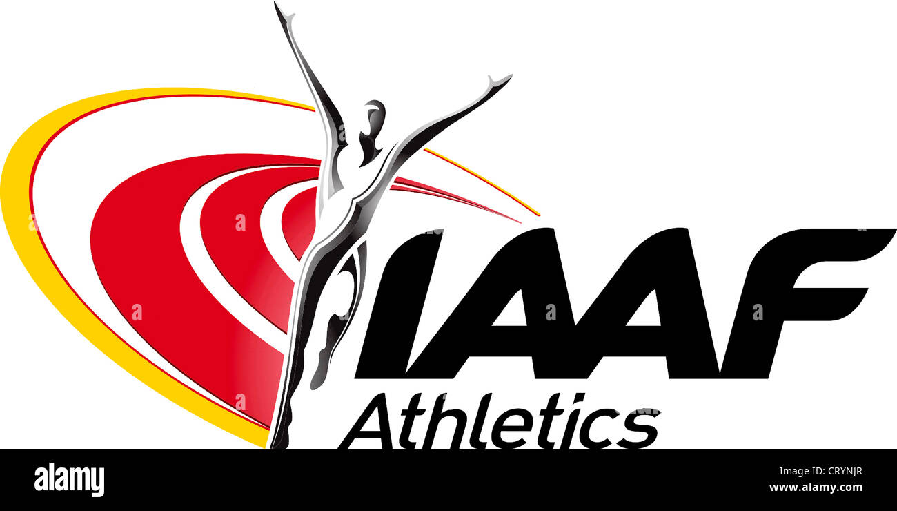 Logo of the International Association of Athletics Federations IAAF with seat in Monaco. - Stock Image