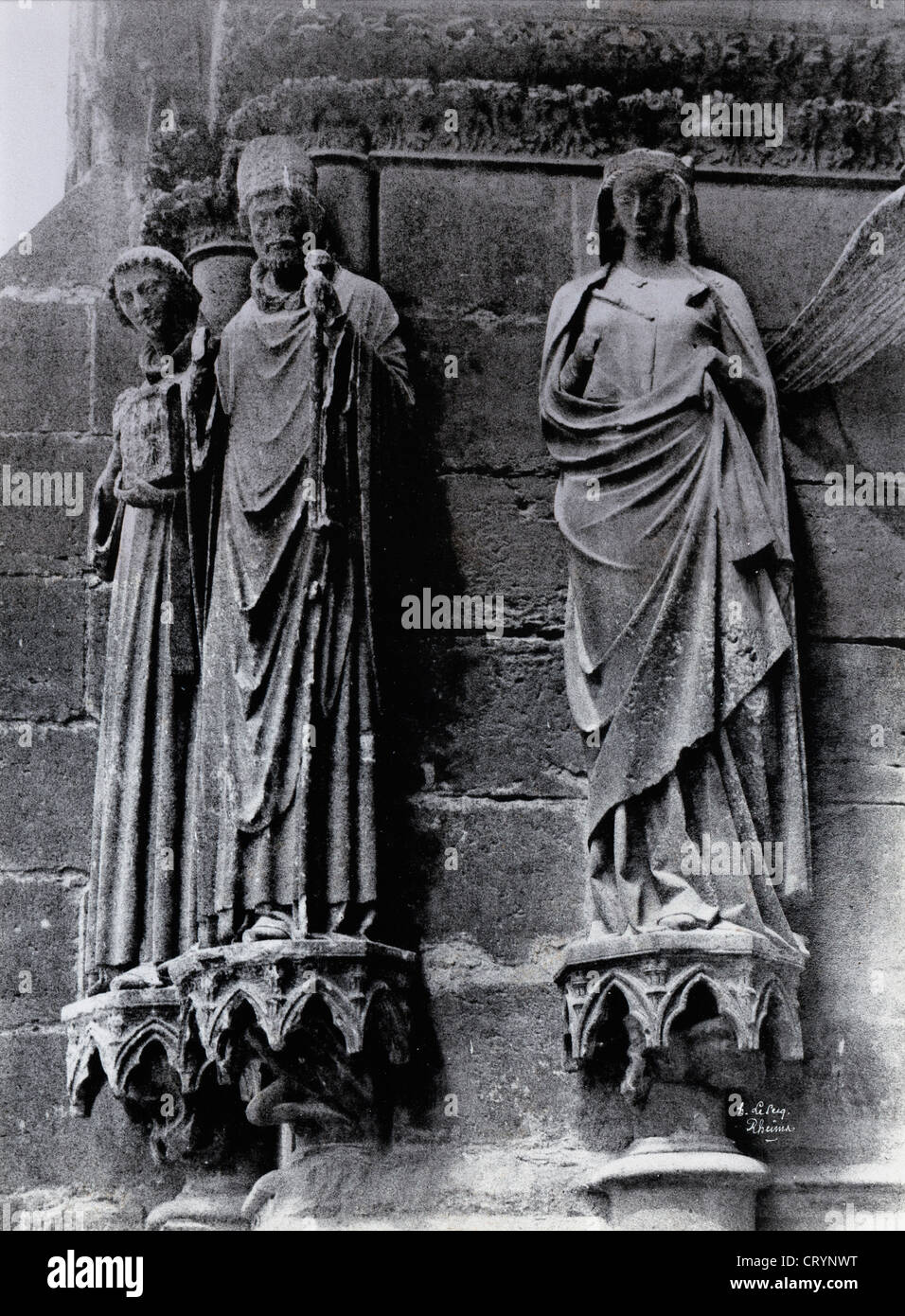 Ebrasement de Gauche, Reims Cathedral Notre Dame, Saint Thierry, Saint Remy et Saint, 1870, by Henri LeSecqStock Photo