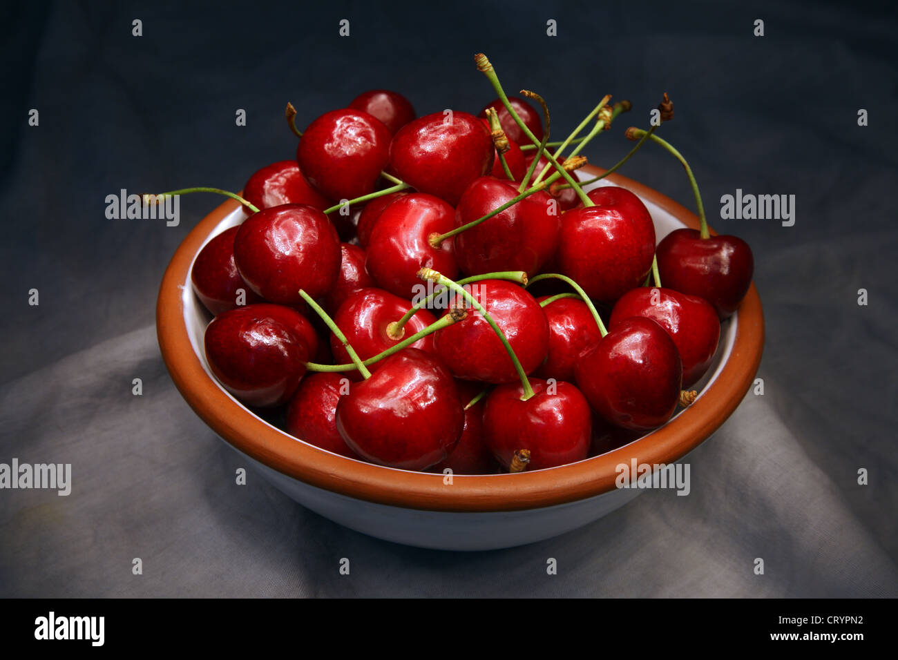 Bowl of red cherries. - Stock Image