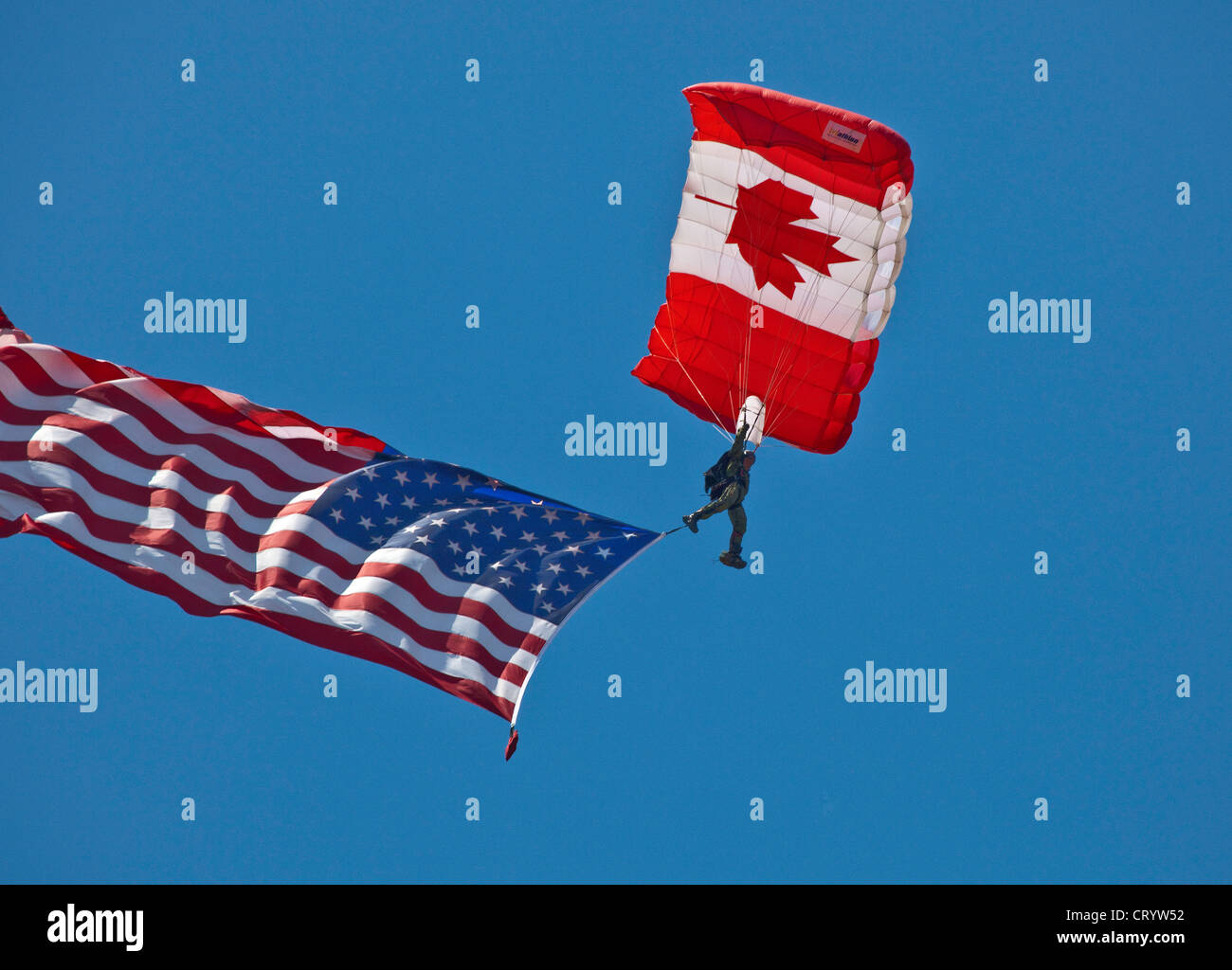 Canadian Armed Forces Parachute demonstration team performing in Camp Borden Air Show in Camp Borden;Ontario;Canada - Stock Image