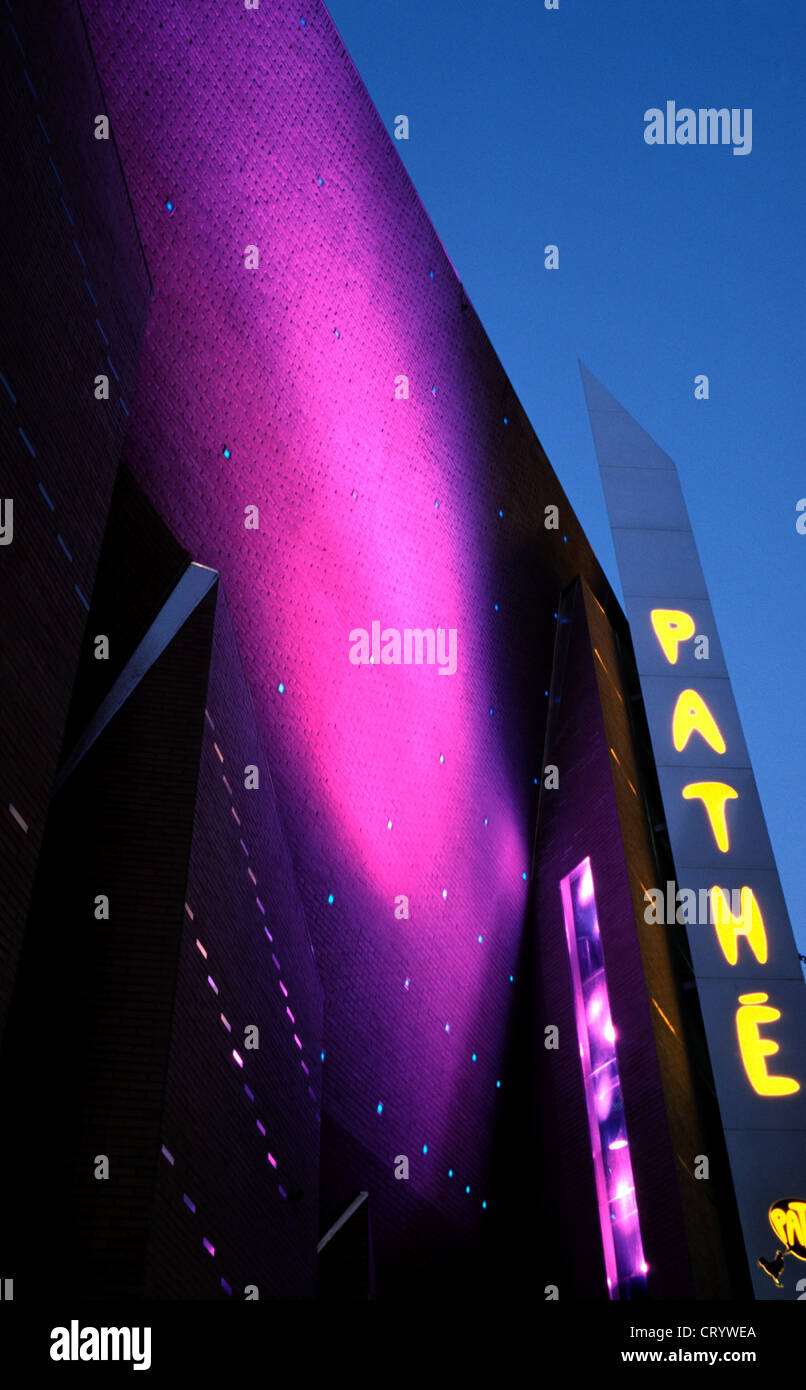 Light Game on Pathe theaters in the dusk - Stock Image
