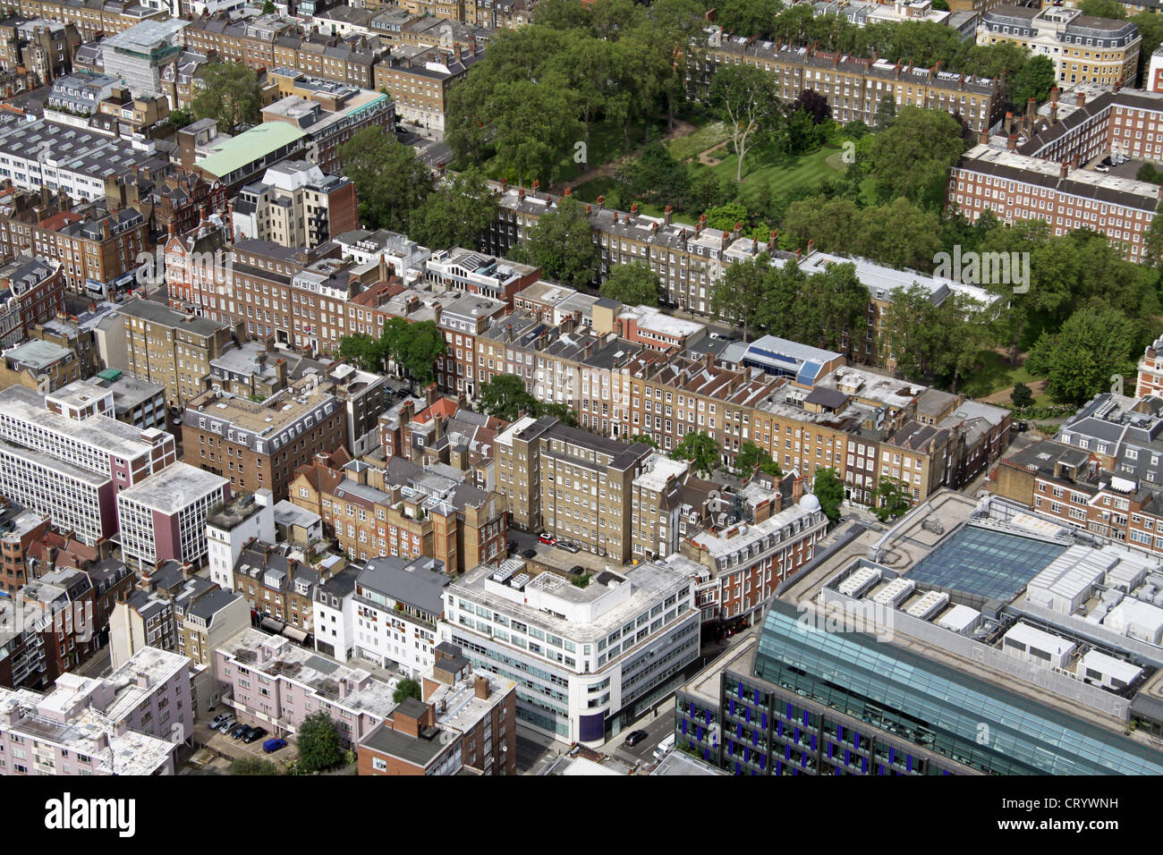 aerial view of Bedford Row, London WC1 - Stock Image