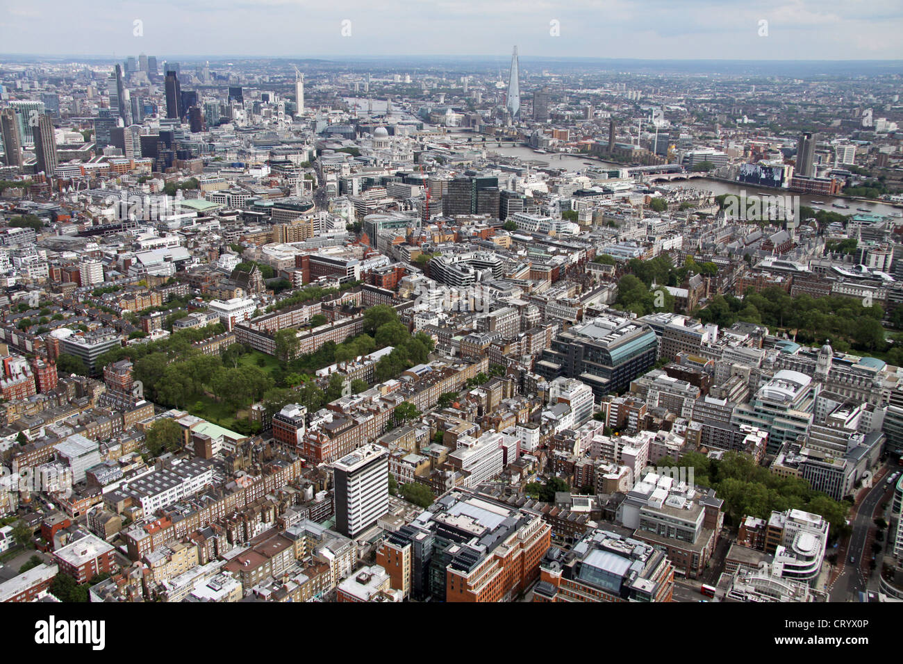 aerial view of Gray's Inn Gardens, Theobald's Road and Bedford Row London WC1 - Stock Image