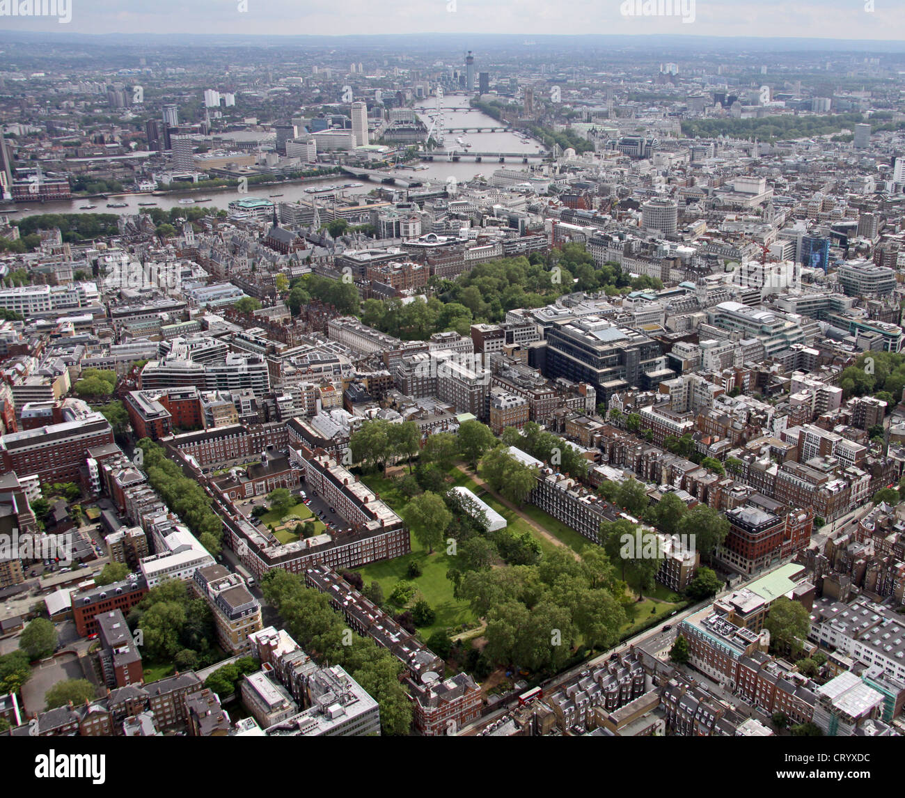 aerial view of Gray's Inn Gardens and Bedford Row London WC1 - Stock Image