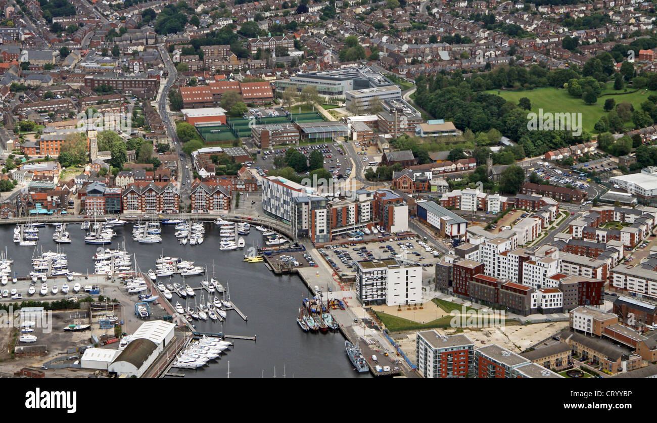 aerial view of The Marina, housing developments and University Campus Suffolk, Ipswich - Stock Image