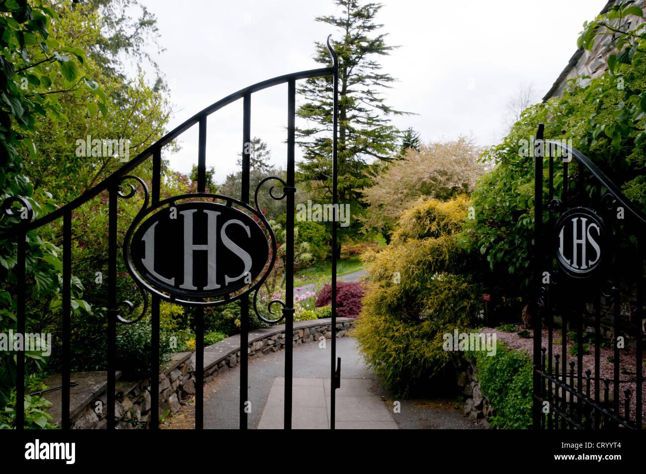 Gates at entrance to Lakeland Horticultural Society gardens at Holehird. Stock Photo