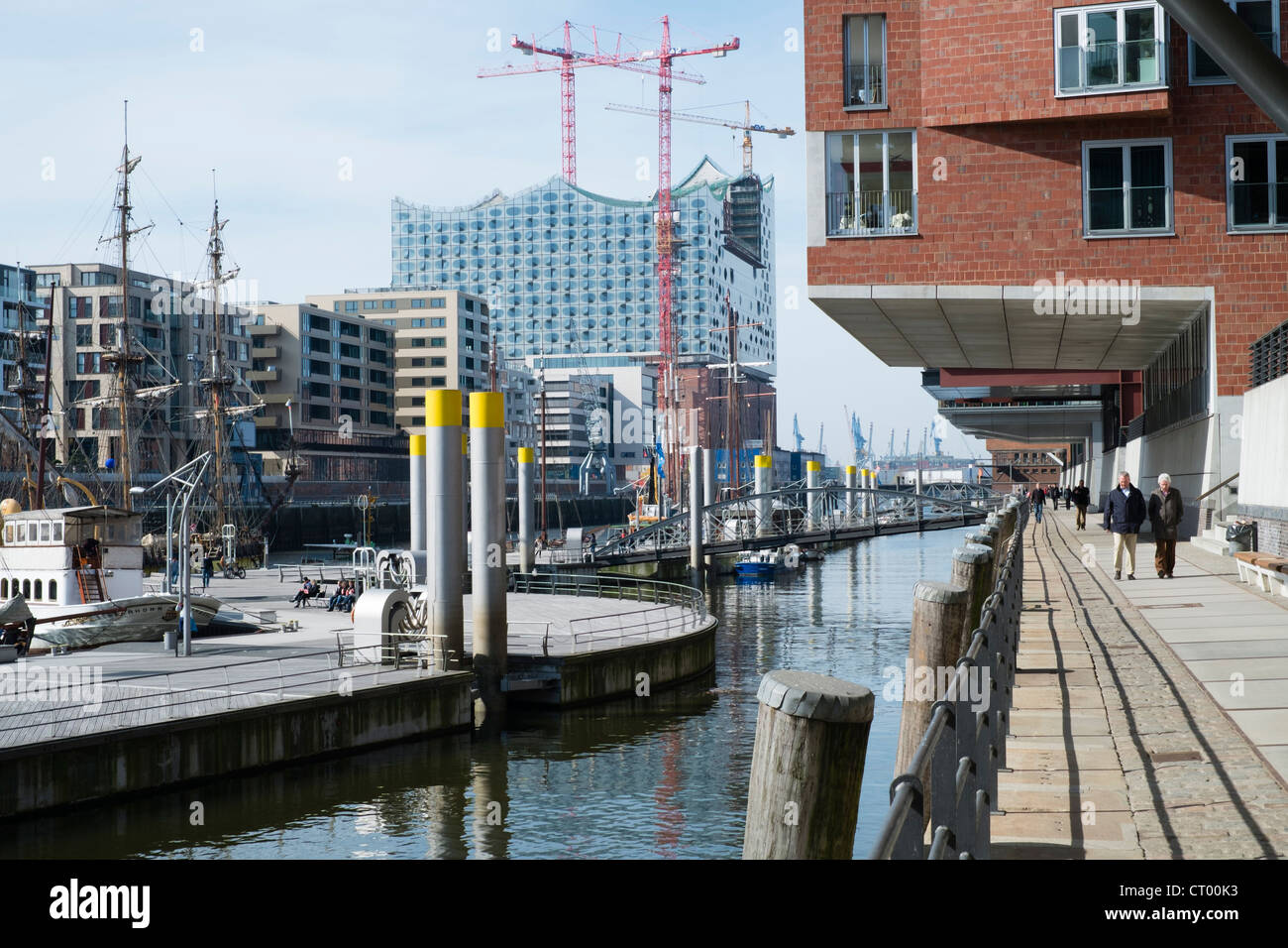 View of modern office buildings  and new opera house in Hafen City commercial  property development in Hamburg Germany - Stock Image