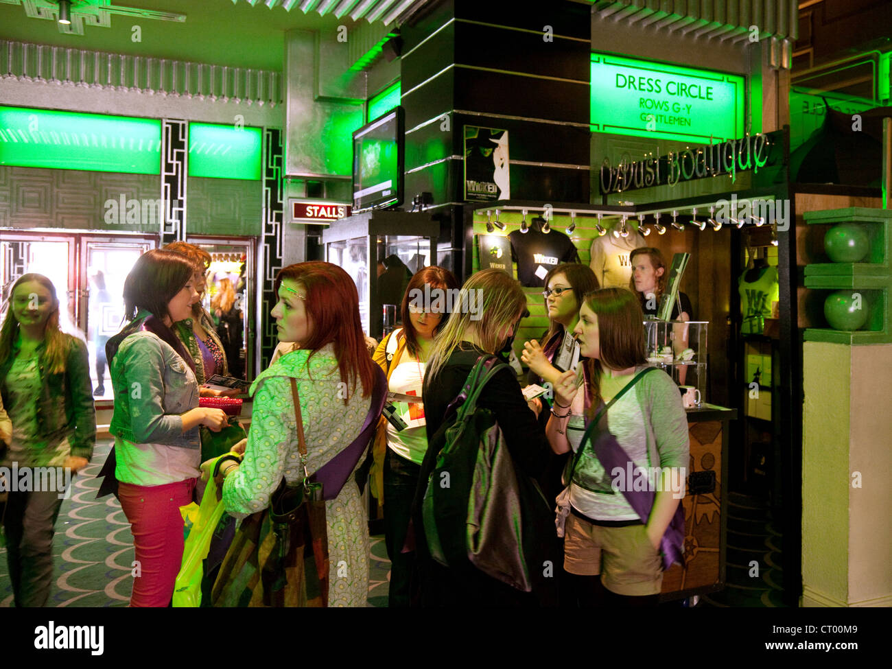 People in the theatre lobby for  west end Musical 'Wicked' at the Apollo Victoria theatre, London UK - Stock Image