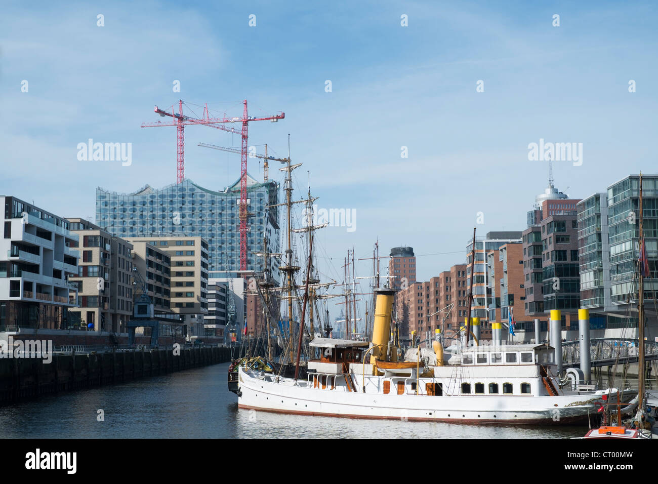 View of modern office buildings in Hafen City commercial and residential property development in Hamburg Germany - Stock Image