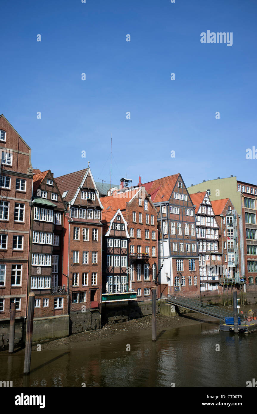 Historic half-timbered houses at Nikolaifleet in Hamburg Germany - Stock Image