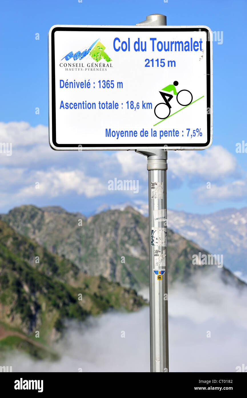 Sign telling angle of inclination for cyclists cycling the mountain pass Col du Tourmalet, Hautes-Pyrénées, Pyrenees, Stock Photo