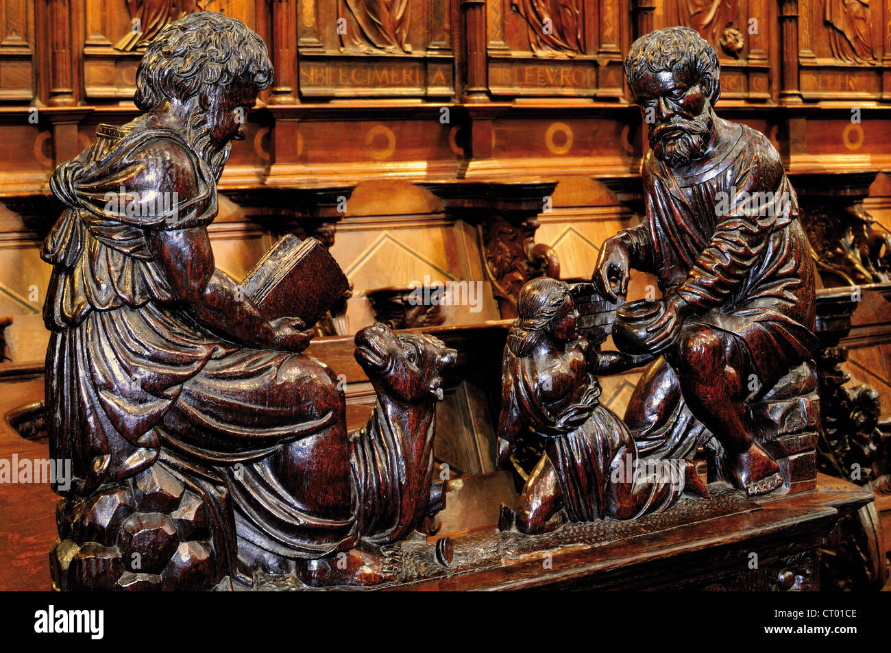 France, Midi-Pyrenees: Detail of the gothic choir in the Cathedral Notre Dame in Saint Bertrand de Comminges - Stock Image